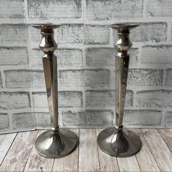 POTTERY BARN SET OF 2 SILVER CANDLE STANDS HOLDER